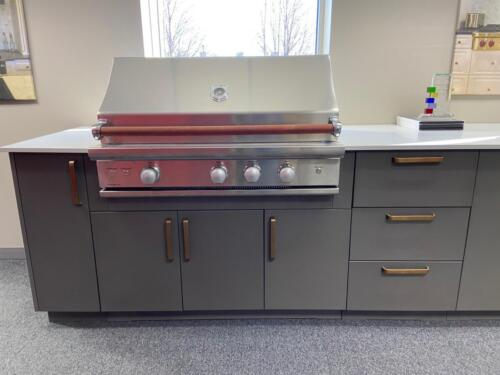 "Urban Bonfire outdoor cabinets | Caliber Crossflame Pro 42"" grill & Kamado 